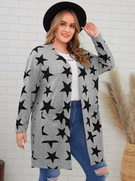 Plus Star Pattern Pocket Front Coat