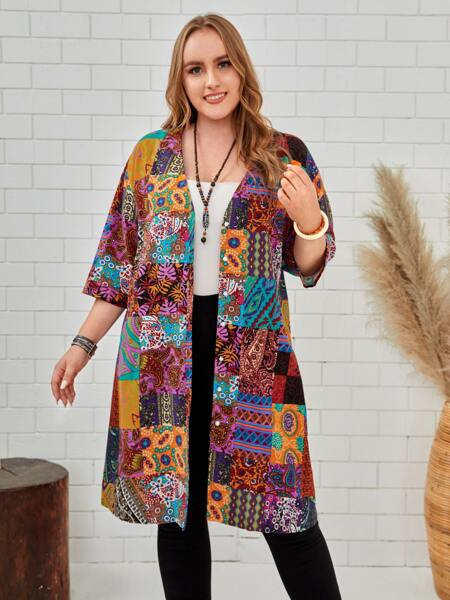 Plus Paisley Print Patchwork Coat