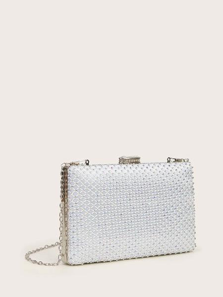 Allover Rhinestone Decor Box Bag