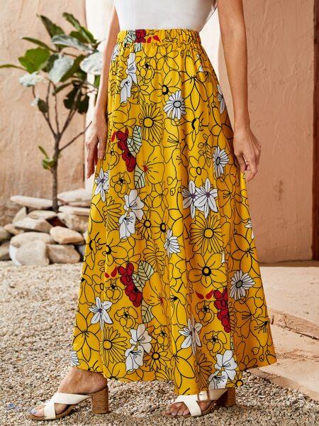 Allover Floral Elastic Waist Skirt