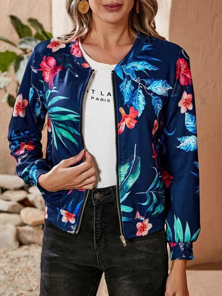 Floral And Plant Print Jacket