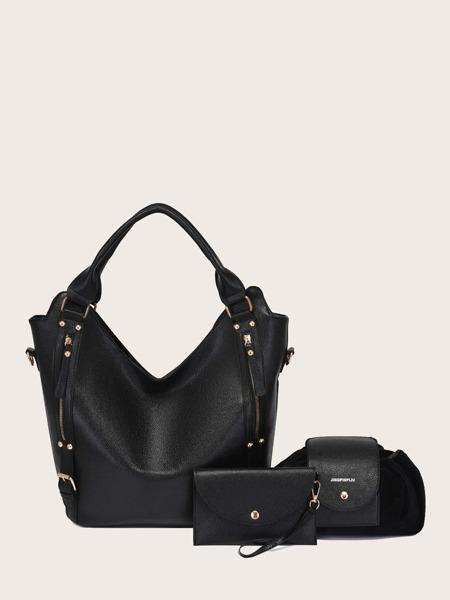 Minimalist Buckle Detail Tote Bag Set