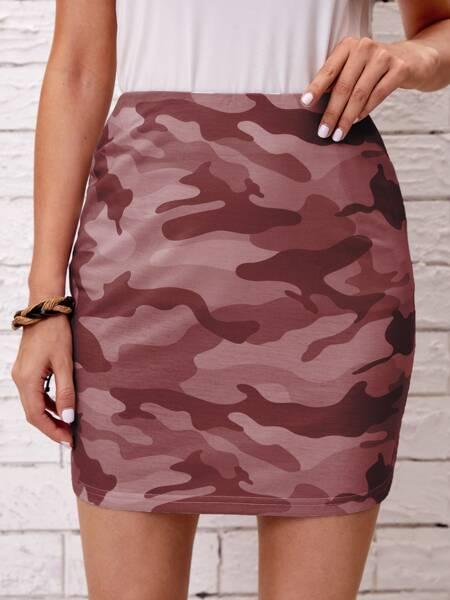 Camo Print Straight Skirt