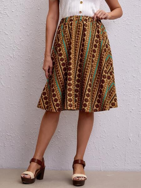 Allover Print Flare Skirt