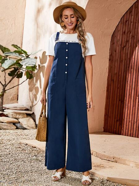 Button Front Dual Pocket Solid Overall Jumpsuit