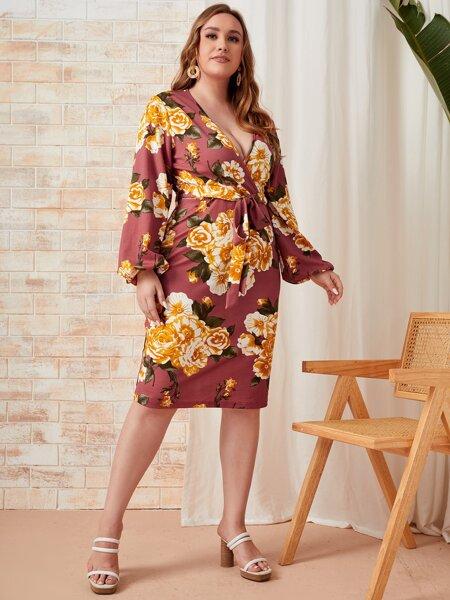 Plus Floral Print Plunging Neck Bishop Sleeve Belted Dress