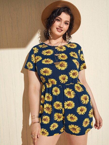 Plus Allover Sunflower Tie Back Romper