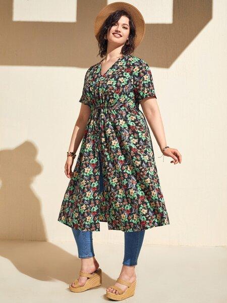 Plus Allover Floral Print Drawstring Waist Kimono
