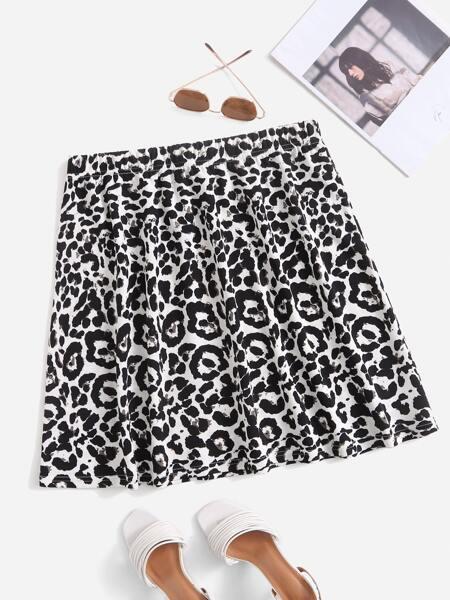Plus Allover Print Skirt