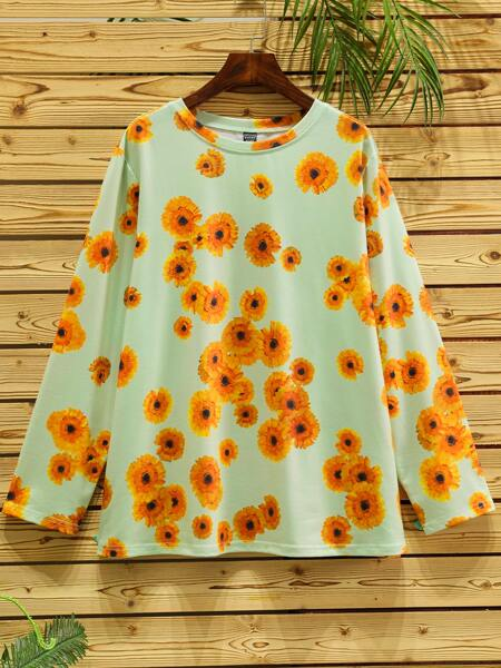 Plus Allover Floral Print Tee