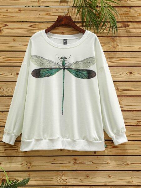 Plus Dragonfly Print Drop Shoulder Sweatshirt