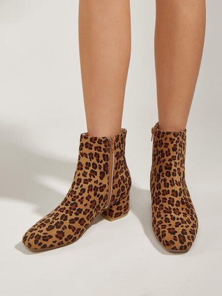 Leopard Pattern Side Zipper Chunky Boots