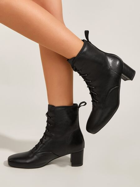 Minimalist Lace-up Front Chunky Boots