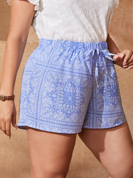 Plus Scarf Print Knot Waist Shorts