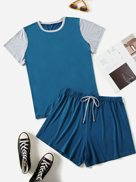 Plus Colorblock Tee With Knot Waist Shorts