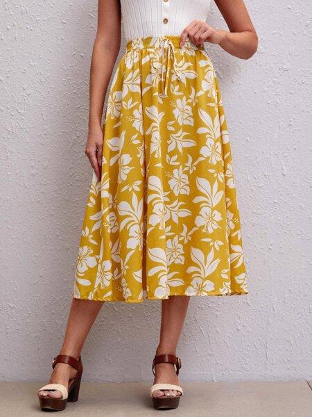 Allover Floral Print Flared Skirt