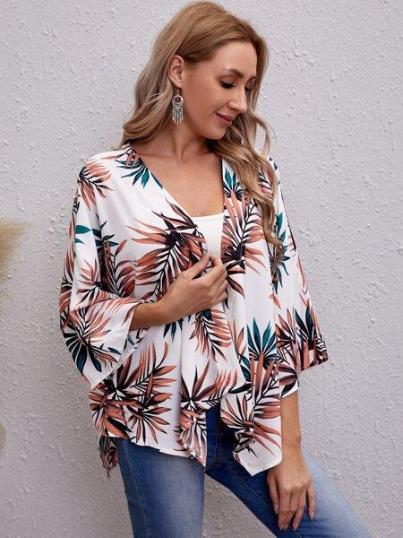 Plant Print Open Front Kimono