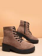 Minimalist Lace Up Front Boots