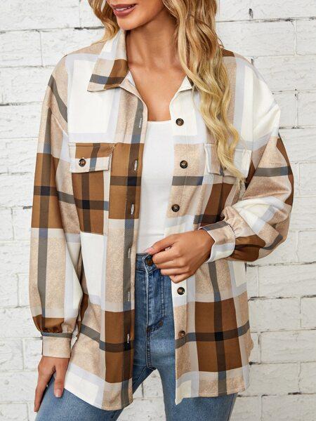 Drop Shoulder Flap Pocket Plaid Coat