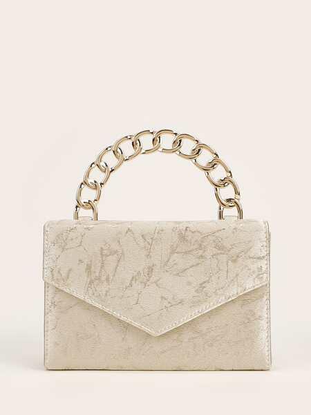 Chain Handle Flap Clutch Bag