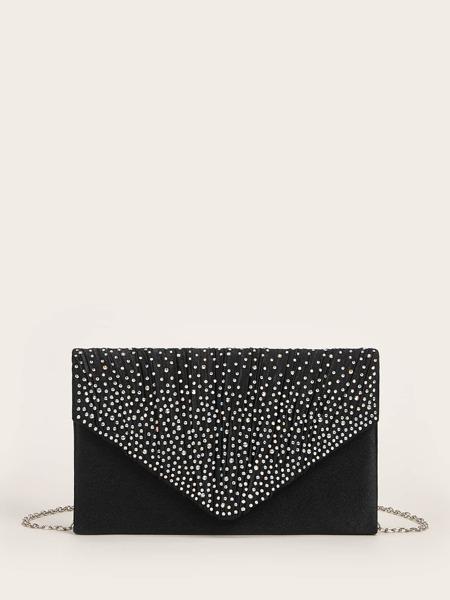 Rhinestone Decor Flap Clutch Bag