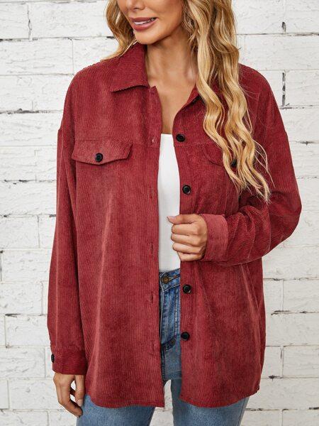 Flap Detail Drop Shoulder Corduroy Coat