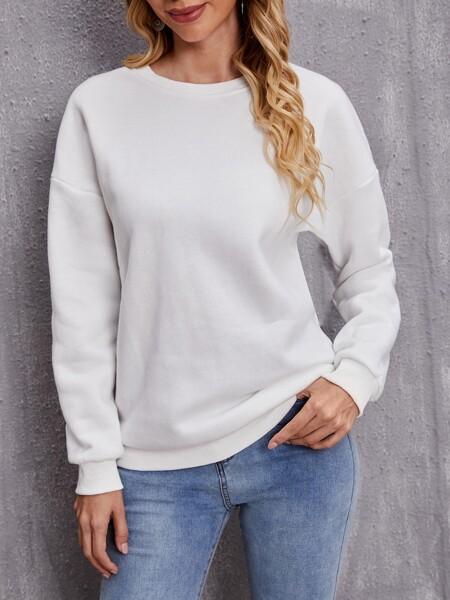 Solid Drop Shoulder Sweatshirt