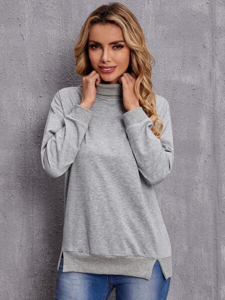 High Neck Slip Hem Sweatshirt
