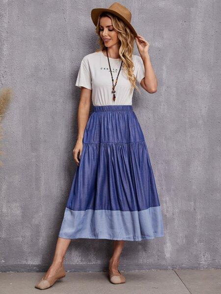 Contrast Panel Ruffle Hem Skirt