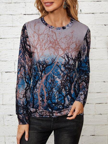 Tree Print Round Neck Sweatshirt