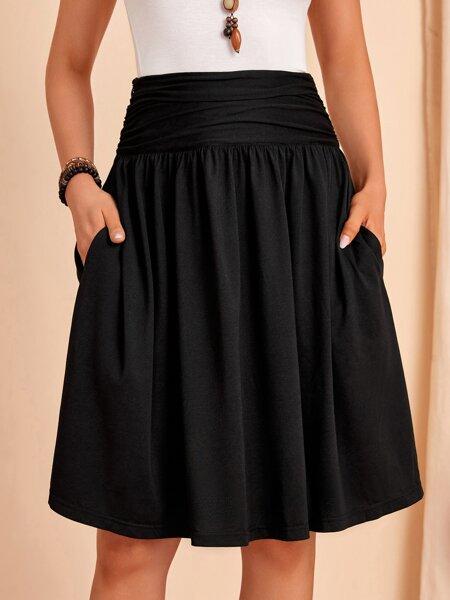 Ruched Wideband Waist Hidden Pocket Skirt