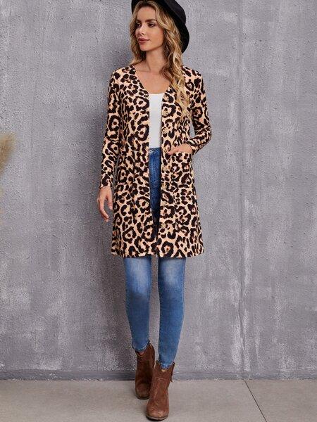 Leopard Button Up Coat