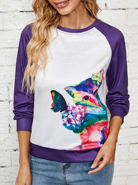 Animal And Flower Print Sweatshirt