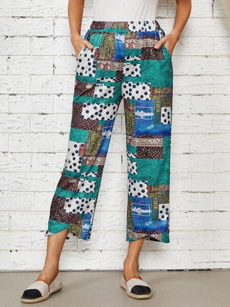 Polka Dot Patchwork Print Wide Leg Pants