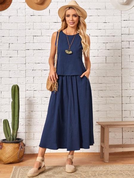 Solid Tank Top & Slant Pocket A-line Skirt