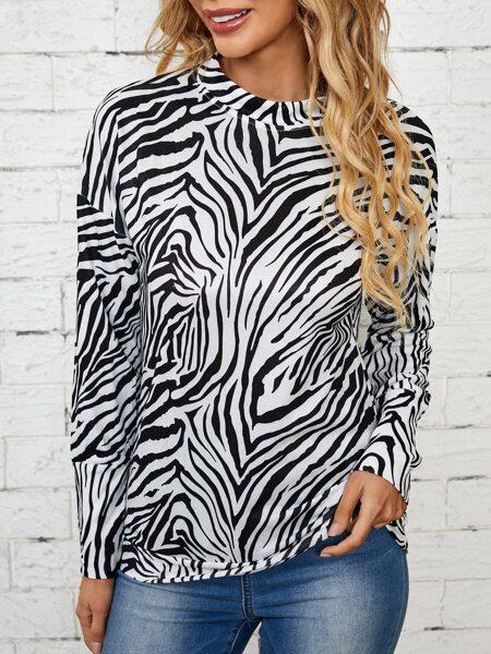 Zebra Striped Drop Shoulder Sweatshirt