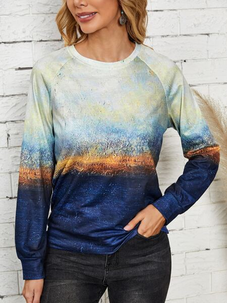 Landscape Print Raglan Sleeve Sweatshirt