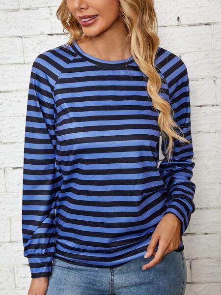 Stripe Raglan Sleeve Sweatshirt