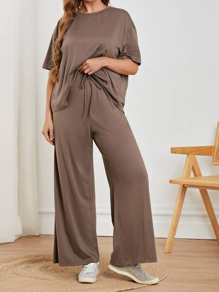 Plus Drop Shoulder Tee & Drawstring Waist Wide Leg Pants Set
