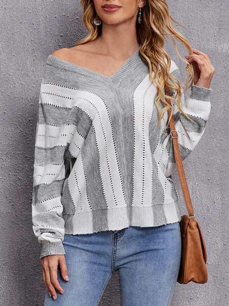 Block Striped Pointelle Knit Sweater