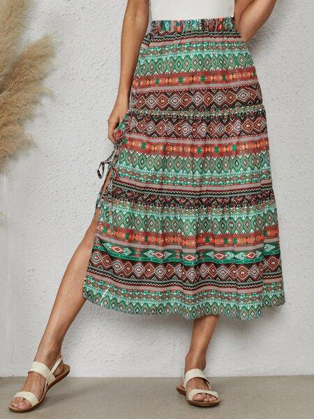 Allover Geo Print Split Hem Knot Side Skirt