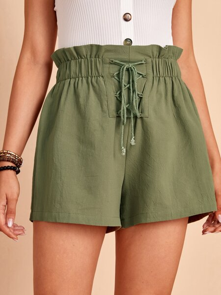 Paperbag Waist Lace Up Front Shorts