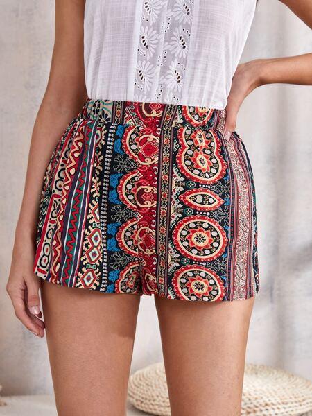 Geo Print Elastic Waist Shorts
