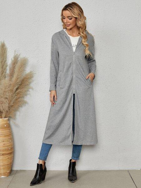 Slant Pocket Zip Up Hooded Coat