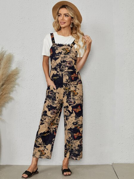 Butterfly Print Overall Jumpsuit