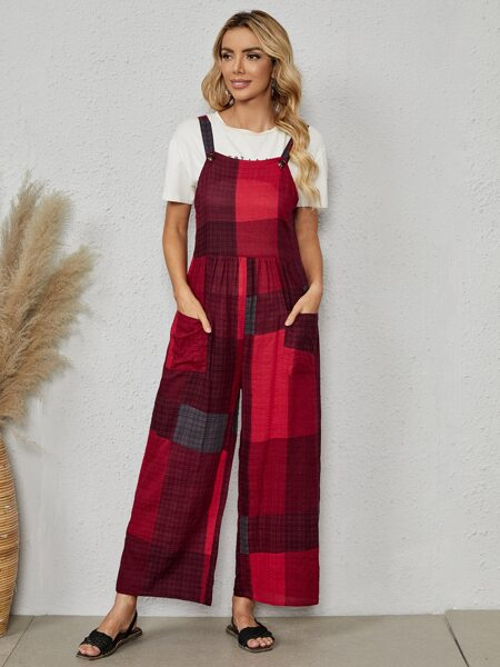 Patchwork Pocket Front Overall Jumpsuit
