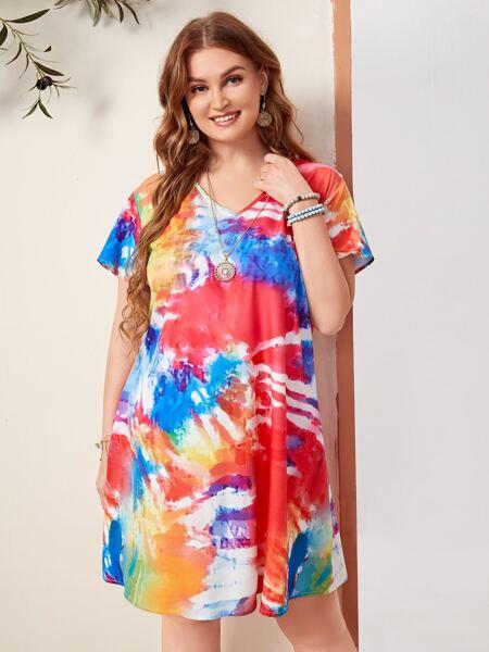 Plus Tie Dye Tunic Dress