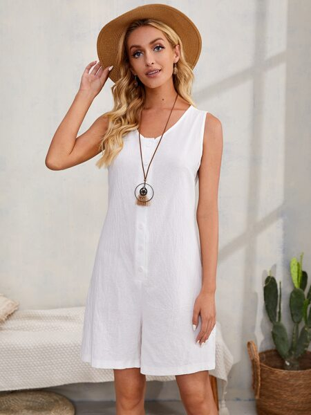 Solid Button Front Tank Romper