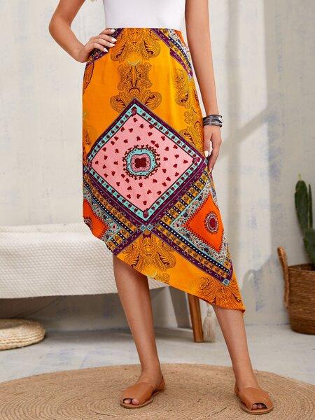 Scarf Print Asymmetric Hem Skirt