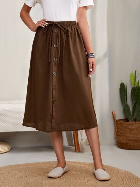 Solid Button Detail Knotted Skirt